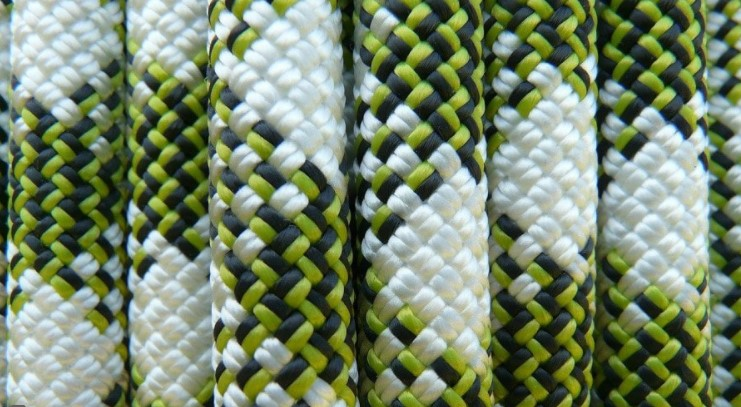 Nylon ropes are used in rock climbing